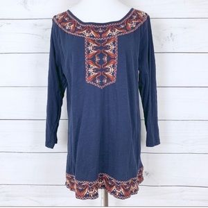 Lucky Brand Boho Navy Blue Embroidered Tunic